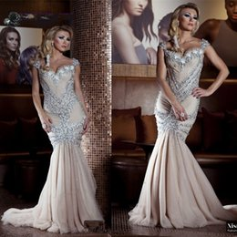 Wholesale Shiny Mermaid Prom Dresses - luxury long mermaid Evening prom dress 2017 shiny beading crystal Pageant sweetheart floor-length tulle ivory robe de soiree custom