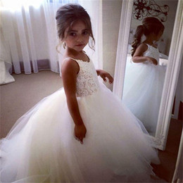 Wholesale Lovely Sweetheart Dress - New Flower Girl Dresses for Wedding Spaghetti Straps Little Girls KidsChild Dress Lovely Ball Party Pageant Communion Dress