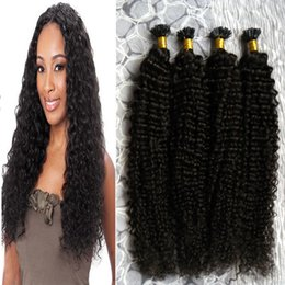 Wholesale Wholesale Pre Tipped Hair Extensions - Unprocessed Brazilian Kinky Curly Virgin Hair U tip hair extensions 200g Pre Bonded Brazilian Human Fusion Keratin Natural Hair Extensions