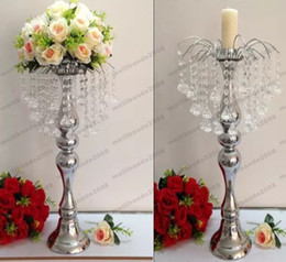 Wholesale Wholesale Decorative Flower Candles - new year party suppliers table centerpieces decoration wedding props crystal fountain table flower vase holder Candelabra Candle Holder MYY