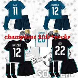 Wholesale Kids Shirts Sale - 2018 Champions League Real Madrid Kids Soccer Jersey+ socks 17 18 RONALDO Soccer Shirt Bale Football uniforms Asensio isco soccer Sales