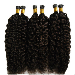 Wholesale Pre Bond Curly Hair Extension - Natural black human hair extensions keratin 300s pre bonded flat keratin hair extension 300g deep Curly keratin stick tip hair extensions