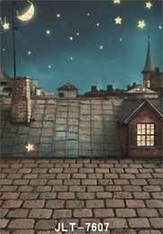 Wholesale stars roof - outdoor house roof moon star 5X7ft camera fotografica vinyl cloth photography background wedding children baby backdrop for photo studio
