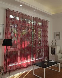 Wholesale Elegant Curtains For Windows - Elegant pure red wine Window sheer curtains voile for Living Room Bedroom dust-proof embroidered 1pcs fabric wholesale price free ship