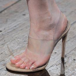Wholesale Kardashian Shoes - 2017 Newest PVC Gladiator Sandals Woman Kim Kardashian Slip On Transparent Clear High Heel Shoes Women Party Shoes