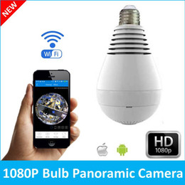 Wholesale Mini Wireless Cctv Camera - Bulb Light Wireless IP Camera Wi-fi FishEye 1080P 360 degree Mini CCTV VR Camera 2.0MP Home Security V380 WiFi Camera Panoramic