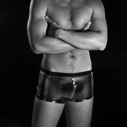 Wholesale Pvc Man Lingerie - Exotic Sexy men lingerie Andalea boxer Shorts PVC clubwear gay schwarz kunstleder PSRTY FANCY DRESS XB850539 size XL-XXXL
