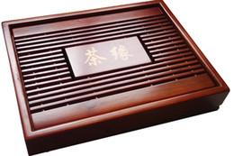 Wholesale Chinese Tea Tray Wood - Chinese Kung Fu Tea Set Natural Wood Bamboo Tea Tray Rectangular Red&Brown wood Puer Chahai Tea Table Hot sale