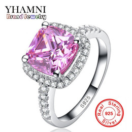 Wholesale Silver Rings Pink Diamonds - YHAMNI Fine Jewelry Solid Silver Rings for women Luxury 3 Carat Pink CZ Diamond Engagement Ring Wholesale HF001