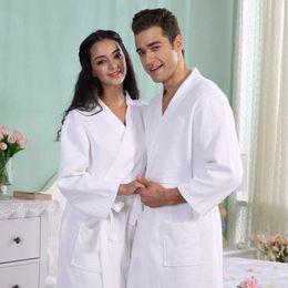 Wholesale Plus Size Towels - Waffle Cotton Bathrobe women men nightgown towel fleece robe thickening lovers long soft robe plus size spring summer autumn