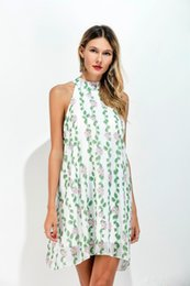 Wholesale Girls Sexy Design Clothes - Hot Selling women summer Clothing dresses personality Sleeveless printing chiffon design Fashion sexy girl dresses Size S M L XL