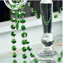 Wholesale Ring Christmas Garland - 1Meters   Lot,FREE SHIPPING 14mm Green Octagon Crystal Beads connected with 11mm rings,Wedding Cake Decorative Crystal Garland  Strand
