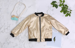 Wholesale Hot Fashion Children Jackets - Hot sale Ins 2017 new Spring Autumn Fashion Gold Pu leather Boys jacket Kids Leather Jackets Children Coat Winter Coats Boys Clothes A951