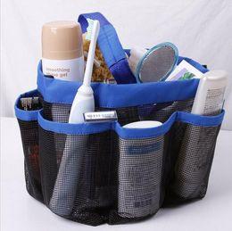 Wholesale Cloth Covered Storage Boxes - Mesh 8 pocket shower caddy Oxford cloth storage box newest multifunctional Bath Caddy hand bath Storage Bags c230
