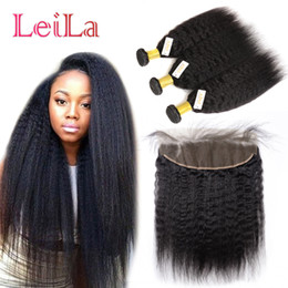 Wholesale Kinky Virgin Closure - Peruvian 13x4 Lace Frontal Closure With Bundles Virgin Hair kinky Straight Pre Plucked Frontal Lace Closure With 3 Bundles Human Hair