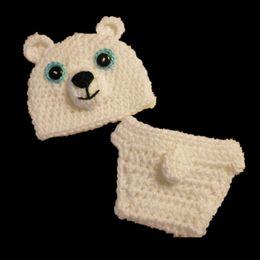Wholesale Polar Bear Outfits - Adorable White Polar Bear Newborn Outfits,Handmade Crochet Baby Boy Girl Animal Beanie and Diaper Cover Set,Infant Photo Prop