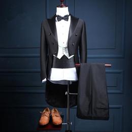 graue hochzeitsanzüge rote krawatte Rabatt Smoking Tails Anzug Für Männer 2017 Neue Zweireiher Drei Stück Anzug Trim Fit Groomsmen Anzug Nach Maß