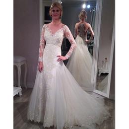 2017 vestidos de novia de la envoltura del diseñador con el tren desmontable apliques de encaje mangas largas vestidos de boda otoño vestido De Noiva Branco desde fabricantes