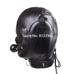 Wholesale New Hood Bondage - 2017 New BDSM Bondage Mask With hollow Mouth Gag SM Totally Enclosed Hood Sex Slave Head Hood Sex Toys For Couples Sex product