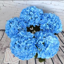 "Wholesale Artificial Single Stem Flowers - Fake Single Stem Round Hydrangea 65 cm 25.59"" Length Large Flower Head Artificial Flowers Hydrangeas for Home Showcase Display Flower"