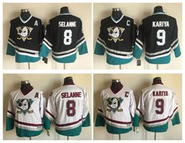 Wholesale Ducks Authentic Jersey - Top Quality ! 2017 Youth Kids CCM Mighty Ducks Ice Hockey Jerseys 9 Paul Kariya 8 Teemu Selanne White Black Boys Authentic Throwback Jerseys
