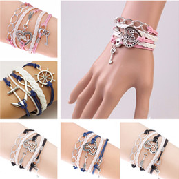Wholesale Infinite Leather Bracelets - Vintage Fashion Women Jewelry Leather Double Infinite Multilayer Bracelets Factory Price Wholesales Statement Jewelry Lady Best Friends Gift