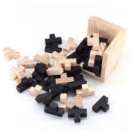 Wholesale wood brain teaser puzzles - Wholesale- Educational Wood Puzzles For Adults Kids Brain Teaser 3D Russia Ming Luban Educational Kid Toy Children Gift Baby Kid's Toy