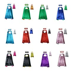Wholesale Mixed Halloween Costumes - Double Side Cape and Mask with 2 different colors 70*70cm Capes for Kids Christmas Halloween Cosplay Prop Costumes mixed 11colours