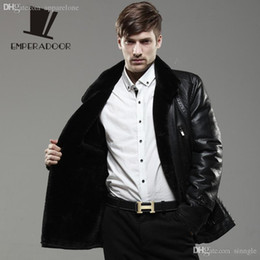 Wholesale Leather Stylish Winter Jacket - Fall-XXXL leather motorcycle clothing stylish winter men brand fur coat sheep wool jackets