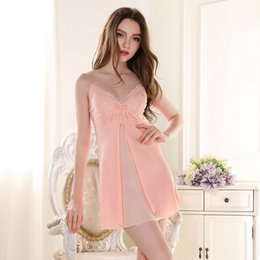 Wholesale Sexy Satin Chemises - Wholesale- silk nightgowns women silk satin nightgowns night dress ladies sexy nightgown xl women sleep chemise silk kit nighty