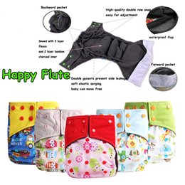 Wholesale Charcoal Inserts Cloth Diapers - Happy Flute Double Guest Charcoal Bamboo Night Sleepy Two Pockets Diaper Reusable Cloth Diapers With Sewn Insert Layer cover
