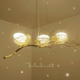 lampadari in tessuto Sconti Personalità intrecciata personalità creativa lampadario nido ristorante luce nordico creativo lampadario d'arte sala da pranzo postmoderno nido d'uccello chandelie
