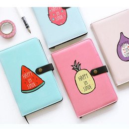 Wholesale Weekly Planners - Wholesale- 2017 New Japanese Kawaii Cute Cartoon Fruit Daily Weekly Pu Leather Cover Planner Agenda A6 pocket portable Notebook Grid Page