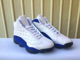 Wholesale Cheap Basketball Shoes For Women - Cheap 13s Hyper Royal Bred Wolf Grey Basketball Shoes for men 2017 New White Blue 13s Sneakers Trainers for men women us5.5-13