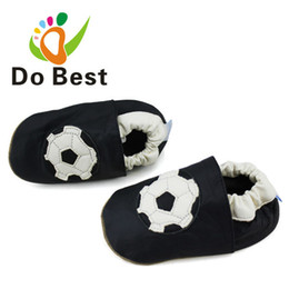 Wholesale Sheepskin Baby Boy - Wholesale- Brand Football Sheepskin Leather Soft Baby Kids Toddler Shoes Moccasins For Boys First Walker New 2017 Autumn Fashion free ship