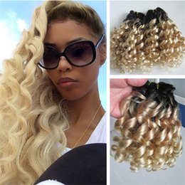 Wholesale Curly European Color 613 - Ombre Curly Human Hair 1B 613 Virgin Brazilian Hair No Tangle Blonde Hair Weave 3PCS Free Shipping