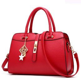 Wholesale Designer Bas - Wholesale- New Fashion Brand Red PU Leather Tote Vintage Women Bucket Designer Handbags High Quality Portable Women Messenger Shoulder Ba