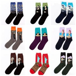 Wholesale Usa Arts - Europe USA Washington male Retro Art Oil Painting Style men sock Cotton women socks Men's Socks