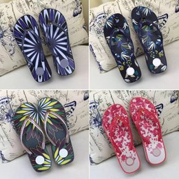 Wholesale nude wedges sandals - New Fashion Women's Wedge Heel Sandals Summer printing Beach shoes Woman flip flops slippers