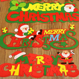 Wholesale outdoor window christmas decorations - Non-woven Merry Christmas Christmas Tree Pendant Ornaments 2017 Christmas Outdoor Party Decoration Santa Claus Door and Window