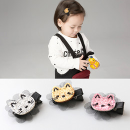 Wholesale Animal Fasion - Wholesale 30pcs Lot Fasion Solid Cute Cat with Laces Baby Girls Hairpin Glitter Cartoon Animal Girls Hairclip Baby Girls Hair Accessories