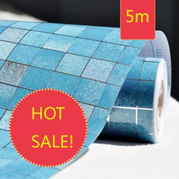 Wholesale Kitchen Oil Proof Wallpapers - Bathroom Waterproof Wall Sticker PVC Mosaic Tile Wallpaper Kitchen Walls Paper Oil Proof Stickers Self Adhesive Wallpapers