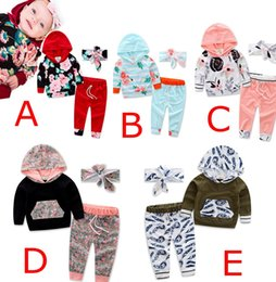 Wholesale 12 Month Girl Winter Clothes - INS XMAS Girls Flower Hoodies Pants Headband 3 Pieces Clothing Sets Kids Baby Autumn Outfits Toddler Sweatshirts & Trousers & headbands 0-2Y