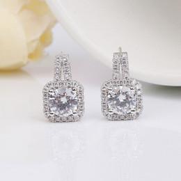 Wholesale Silver Earings Zircon - 925 Sterling-silver-jewelry AAA Zircon CZ Diamond Stud Earrings For Women Earings Sterling Silver Jewelry boucle d'oreille A411
