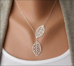 Wholesale Cheap Yiwu Jewelry - Wholesale-NK607 Yiwu Fashion Hot Selling 2015 New Two Leaves Pendants Necklaces For Women Jewelry Accessories Wholesale Cheap