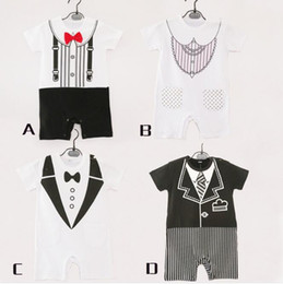 Wholesale Baby Boy Clothes Black Tie - Infant Gentleman Bow Tie Romper Baby Boys Fake Two-piece black White Vest Jumpsuit School Style Clothing Toddler Summer Costume TOP1917