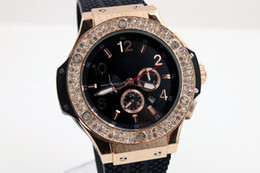 Wholesale Rose Gold Men Watch - 2016 46mm Good Quality F1 AAA HB03 Gold Rose Diamond watch Rubber Luxury watch for men Automatic machine rubber Buckle buckle transparent