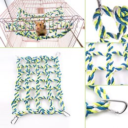 Wholesale Colorful Hanging Swing - Multi-Color Pet Bird Parrot Parakeet Cage Rope Net Hammock Cage Decorations Accessories Swing Toy Hanging Perch Colorful TYL0008