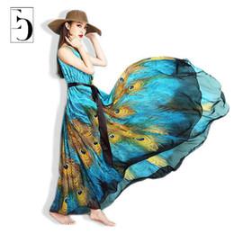 Wholesale Maxi Dresses Peacock Print - Wholesale- Women Summer Dress 2016 M-9xl Peacock Print Plus Size Dress Bohemian National Chiffion Long Maxi Beach Dresses Women Robe New