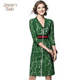 Solid Green Runway Woman Dress 2017 Spring Midi Vestido lápis Mulher OL Trabalho Lace Robe Femme q170661 de